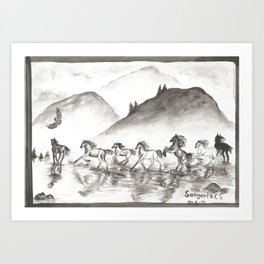 horses gallop monochrome black and white watercolor painting Art Print