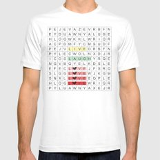Word Search II White Mens Fitted Tee MEDIUM