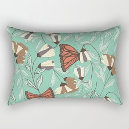 Beautiful Vintage Butterfly And Flower Pattern Rectangular Pillow