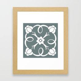 White Rosette Green Grey Framed Art Print