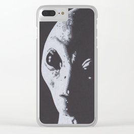 Charcoal Drawing of Alien Clear iPhone Case
