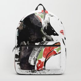 Classical Beauty, Fashion Painting, Fashion IIlustration, Vogue Portrait, Black and White, #12 Backpack