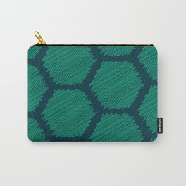 Green Scribbled Hexagon Geometric Pattern Carry-All Pouch