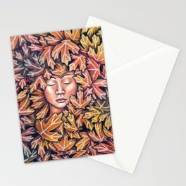 lady in leaves Stationery Cards