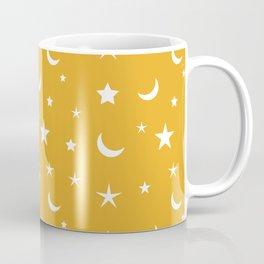 White moon and star pattern on orange background Coffee Mug