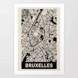 Bruxelles, Belgique, city map, Cararra Art Print