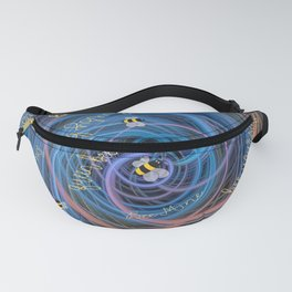 Bees Swarm Vortex Typography by OLena Art Fanny Pack