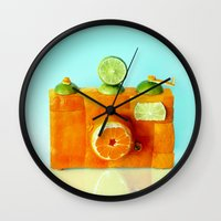 aperture Wall Clocks featuring Orange Camera by Dan Cretu
