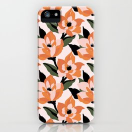 Bold orange poppy on a soft pink base iPhone Case