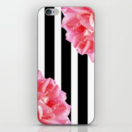Pink roses on black and white stripes iPhone Skin