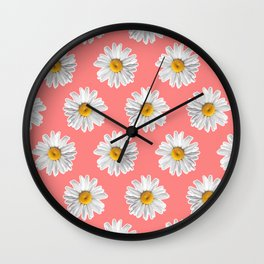 Daisies & Peaches - Daisy Pattern on Pink Wall Clock
