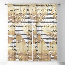 Tropical Leaves & Stripes - Black Sheer Curtain