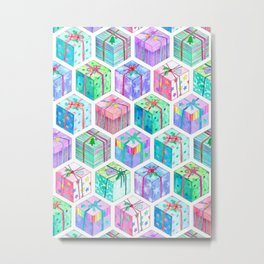 Christmas Gift Hexagons Metal Print