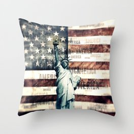 Vintage Patriotic American Liberty Throw Pillow