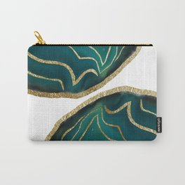 Green Blue Agate Gold Glam #1 #gem #decor #art #society6 Carry-All Pouch