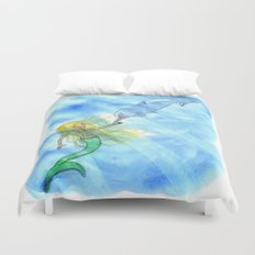 Mermaid and Dolphin - Nautical Ocean Art Duvet Cover