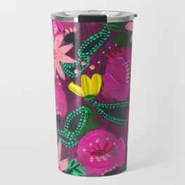 Magenta Blooms Travel Mug