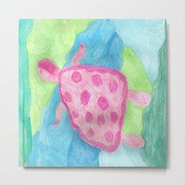 Tropical Pink Turtle Metal Print