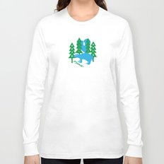 moon over bear in forest Long Sleeve T-shirt