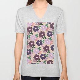 Modern navy blue burgundy lilac peach floral Unisex V-Neck