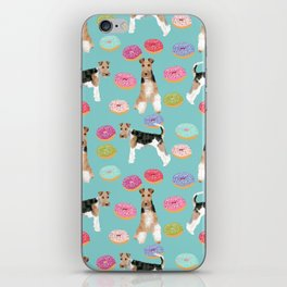 Wire Fox Terrier donuts dog pattern dog lover gifts for dog person dog breeds pet friendly iPhone Skin