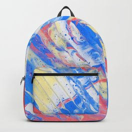 Fluid Acrylic Painting Multi Color Glitch Wave Effect Red Blue Yellow Backpack