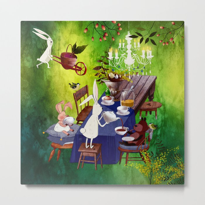 Bunny Tea Party in forest Metal Print