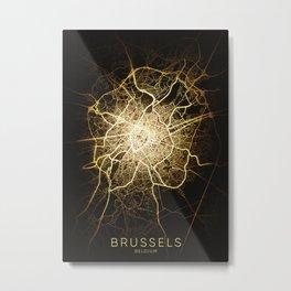 brussels belgium europa city night light map Metal Print