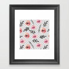 Red flowers. Watercolor Framed Art Print