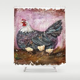 Blue Hen With Chicks Transparent Shower Curtain