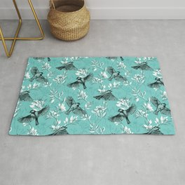 Flowers and Flight in Monochrome Teal Rug