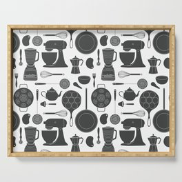Kitchen Tools (black on white) Serving Tray