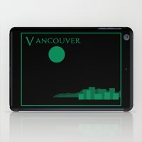 travel poster iPad Cases featuring Vancouver Minimalist Travel Poster by Finlay McNevin