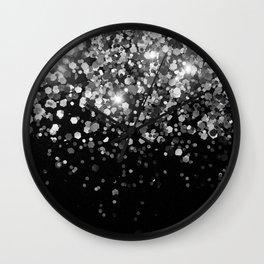 Silver Gray Black Glitter #3 (Faux Glitter - Photography) #shiny #decor #art #society6 Wall Clock