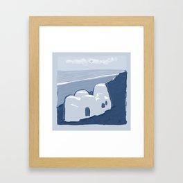 Labyrinth on the Shore, Sketch, Cyanotype Framed Art Print