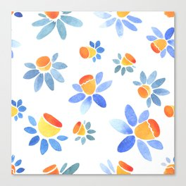 Stylized ornament with the image of daffodils. Canvas Print