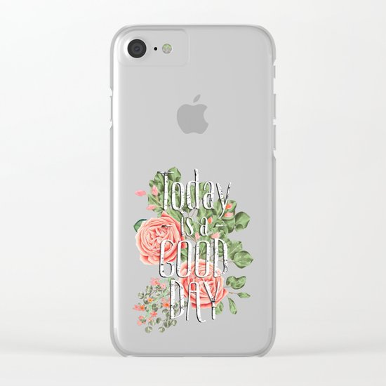 Today is a good day- Roses and Flowers on polkadot background #Society6 Clear iPhone Case