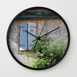 Windows and Pink Roses Wall Clock