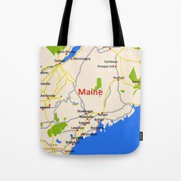 Map of Maine state, USA Tote Bag