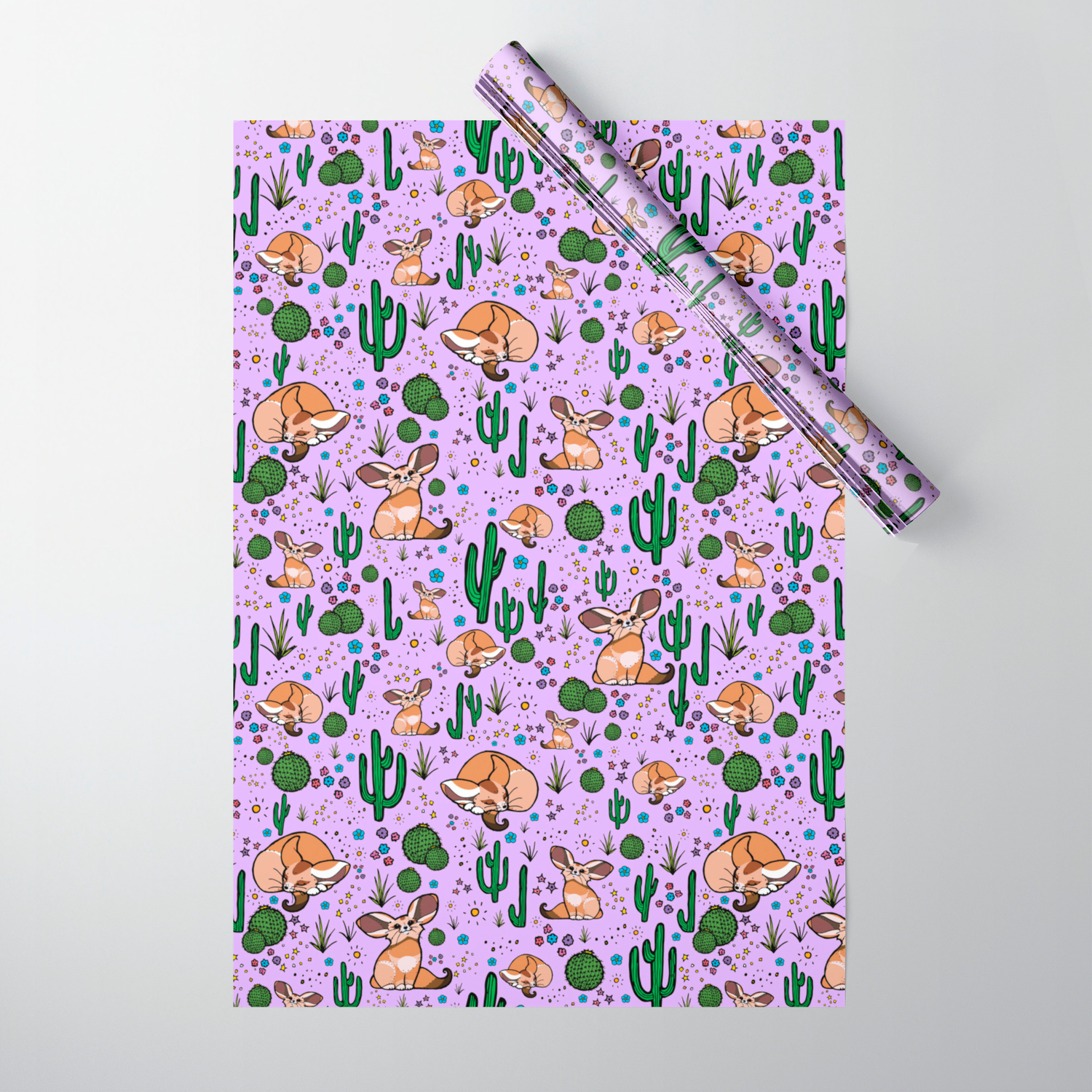 Cute Cactus And Fennec Fox Wrapping Paper By Nemki Society6