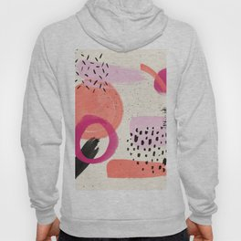 Abstract pink black coral geometric minimalist paint watercolor Hoody