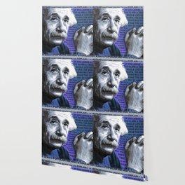 Albert Einstein and Quotes Blue Wallpaper