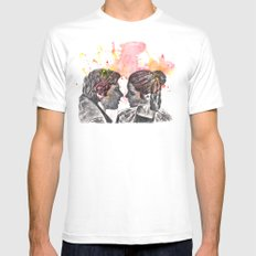 Han Solo and Princess Leia from Star Wars Mens Fitted Tee White MEDIUM