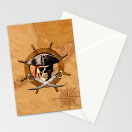 Jolly Roger Pirate Wheel Stationery Cards