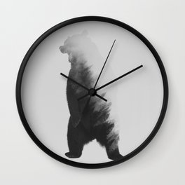 Roaring Bear (black & white version) Wall Clock