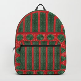 Polka Dots and Stripes in Christmas Red and Green Backpack