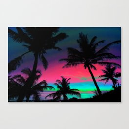 Deep Pink Palm Tree Sunset Canvas Print