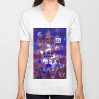 patriotic V-neck T-shirts featuring AMERICAN PATRIOTIC by hippiedaisysart
