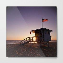 Lifeguard Tower Sunset (Hermosa Beach) Metal Print
