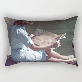 Woman Reading By The Lake (Vintage) Rectangular Pillow